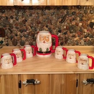 Vintage Set of 7 Santa Mugs Portugal 1 Big Mug